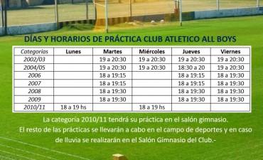 DÍAS Y HORARIOS PRACTICAS CLUB ATLÉTICO ALL BOYS DE TRENEL