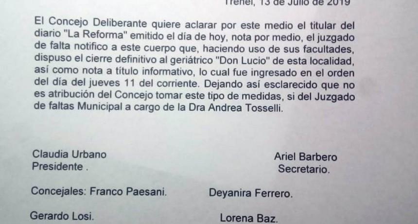 TRENEL - Nota del Concejo Deliberante